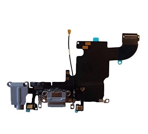Smartex Conector de Carga de Repuesto Compatible con iPhone 6S Gris Oscuro – Dock de repeusto con Cable Flex, Altavoz, Antena, Micrófono y Conexión Botón de Inicio.