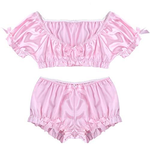 iixpin Männer Satin Schlafanzug Set Erotik Dessous-Set Oberteile+Shorts Sissy Reizwäsche Unterwäsche Pink/Blue Partykleidung Clubwear Rosa Medium
