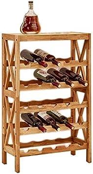 YZ-YUAN Gabinetes de Vino Soporte de exhibición de Vino | Estante de Madera Maciza para Vino | Estante de celosía para Piso de gabinete de Licor | Estante de Almacenamiento de 5 Capas y 8 Capas (Tam