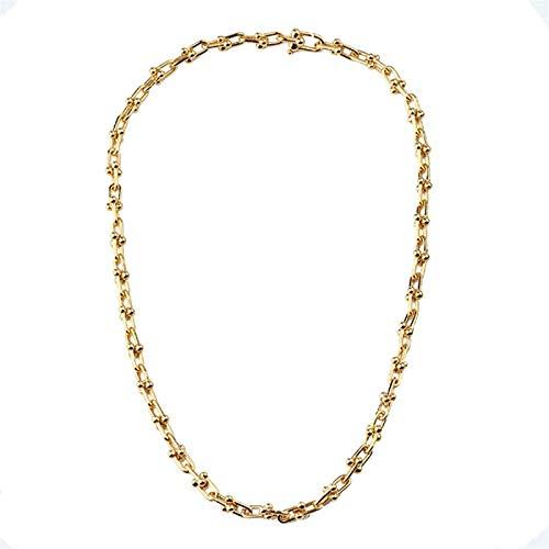 QIERK Lady Necklace Moda Hip Hop Street Style Short Metal UFormado en Forma de U Collar de Cadena Lateral, suéter de Damas Collar de Cadena de Oro, Pulsera,