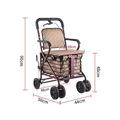 RUIVE Bastones Andador Plegable con 4 Ruedas, Silla de Ruedas Plegable de Aluminio con Asiento Acolchado Cesta de la Compra Frenos con Cerradura, Andador Plegable Ligero