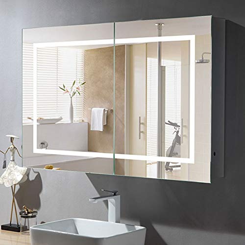 24 x 36 in. Horizontal LED Lighted Mirror Cabinet Wall Mount Illuminated Medicine Cabinet with Infrared Sensor (NS165)