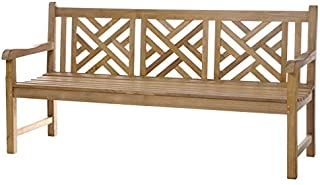 Teak Wood Chippendale Outdoor Patio Triple Bench, Made with Solid A-Grade Teak Wood