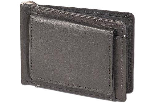 Rimbaldi Premium - flipper soldi con clip denaro stabile e tasca esterna della moneta in morbida pelle di vitello trattata in nero
