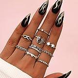 Mayelia Juego de anillos de estrella vintage de plata con alas de ángel, anillo para nudillos apilables para mujeres y niñas (9 piezas)