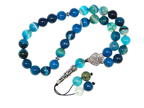 004BA - Prayer Beads Worry Beads Tasbih 10mm Blue Agate Gemstone Beads Handmade by Jeannieparnell