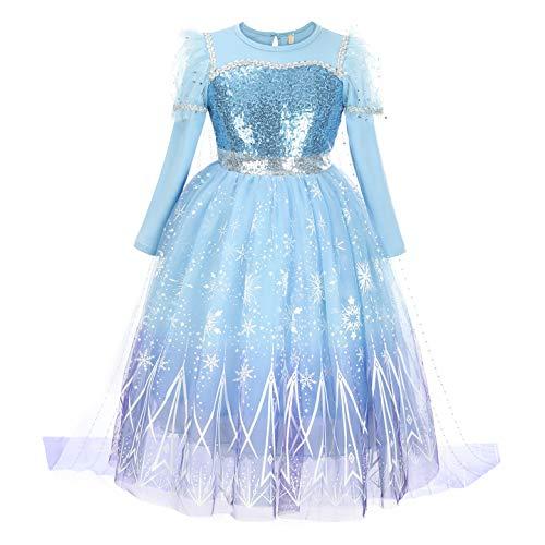YOSICIL Nia Disfraz de Princesa Frozen Elsa con Lentejuela Vestido de Princesa Capa Larga Desmontable Impreso Nieve Fancy Dress de Cumpleaos Fiesta de Navidad de Halloween Cosplay