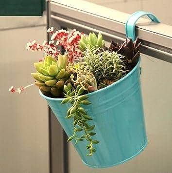 Wiiguda@8 St/ück Metall Eisen H/änget/öpfe Blumentopf Balkontopf Vase mit 8