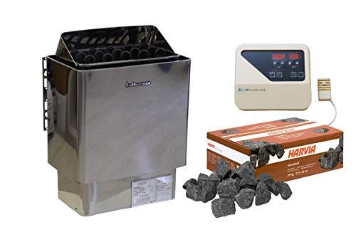 Saunaofen 6,0 kW Edelstahl, mit Außensteuerung/mit Steine