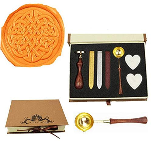 MNYR Vintage Celtic Knot Sealing Wax Seal Stamp Wood Handle Melting Spoon Wax Stick Candle Gift Book Box kit Wedding Invitation Embellishment Holiday Card Christmas Gift Wrap Package Seal Stamp Set