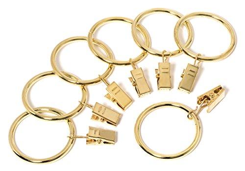 Perfect Order Iron Metal Curtain Clip Rings 1 1/2 Inch Interior Diameter (20, Gold)