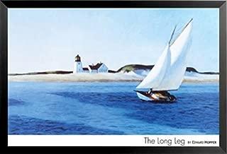 Buyartforless Framed The Long Leg by Edward Hopper 24x36 Art Print Poster Sailing Painting Seaside Ocean Lighthouse Sand Dunes