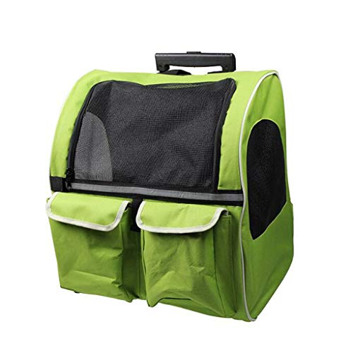 YULAN Trolley Pet Box Cage Large Capacity Backpack Shoulder Cat Dog Portable Travel Transportation Car Outbound Consignment Multicolor 43 * 30 * 50cm (Color : Green)