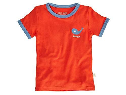Bio Kinder T-Shirt 100% Bio-Baumwolle (kbA) GOTS zertifiziert, Rot mit Druck, 86/92