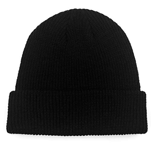 Paladoo Unisex Black Knit Beanie Hat for Men