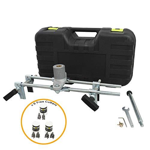 T-Mech - Mortasatrice Professionale per Mortasare la Serratura di Porte in Legno con 6 Tagliatori in Carburo da 19mm, 22mm e 25mm