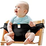 Di & Mi Baby portátil silla de asiento silla de comedor de correa cinturón de seguridad Trona negro negro