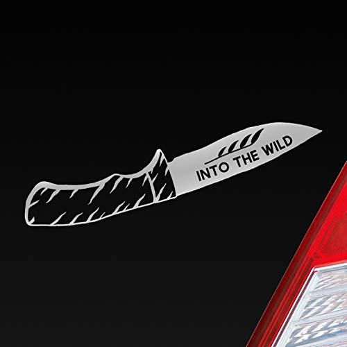 Hellweg Druckerei Auto Aufkleber Klappmesser Messer Knife Jagd Hunting Wild Wald Car Sticker Folie Silber