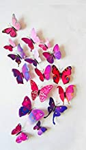 12pcs 6 big 6 small PVC 3d Butterfly Tatoos Wall Sticker Home Decoration Decals - Purple and red