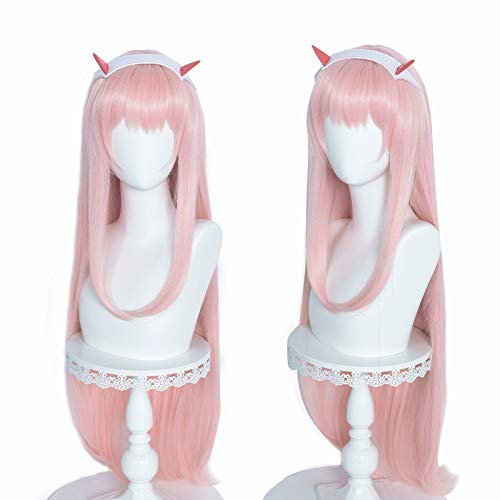 FILMIA Zero Two Pink Wig for Women, DARLING in the FRANXX Code 002 Long Straight Anime Cosplay Wig with Horn--39 Inch
