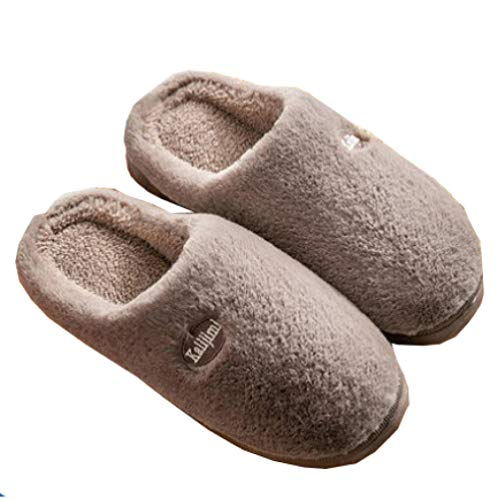 KIKIGO knitted slippers,Women's soft-soled warm and comfortable sleeping shoes, non-slip warm winter shoes indoor and outdoor.-Brown_41