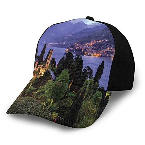 Hip Hop Sun Hat Baseball Cap,Lago Di Camo Lake Famous Coastal Village with Aerial View Picturesque Panorama,For Men&Women