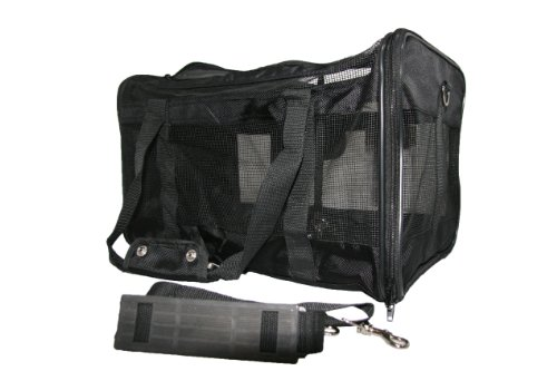 Airline Compliant Pet Carrier for Small Dogs Cats- Comfortable Mesh Ventilation- Best Carry on Bag for Car/Air Travel- Airport Dog Carriers for Southwest/Jetblue/American Airlines More (Black)