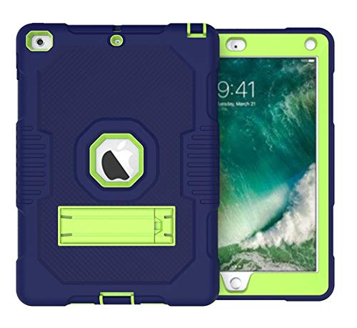 Tablet PC Case Rugged Anti-Drop Three-Layer Protective Shell Suitable for New iPad 9.7 2017/2018 Protective Cover Rubber High-Strength Protective Shell with Built-in Shock Mount Smart Cover