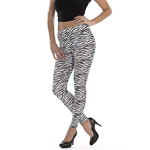 Amakando Elegante Zebra-Leggins für Damen / Schwarz-Weiß L/XL (44 - 50) / Gestreifte Jeggings Tights mit Zebraprint / EIN Highlight zu Mottoparty & Karneval