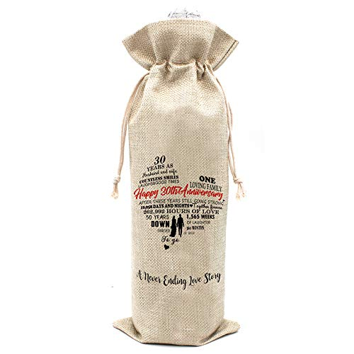 30th Year Wedding Anniversary wine bag - Gift for 30th Anniversary Husband and Wife Present for 30th Year Married Couple - Cotton burlap drawstring Wine bag