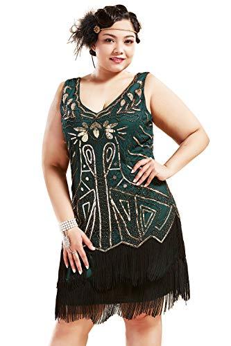 BABEYOND Plus Size Flapper Robes Années 1920 V Cou Perlé Frangé Grande Robe Gatsby(Vert doré,3X)