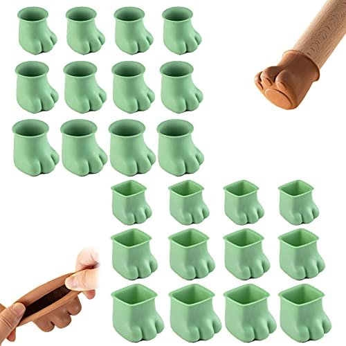 Silicone Chair Leg Caps,Anti-Slip Furniture Table Feet Pads Covers,Cute Kitten Paw Shaped Furniture Leg Cover,Prevents Scratches and Noise Without Leaving Marks (Green)