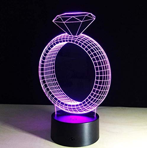 Small Night Light 3D Light Diamond Ring 7 Colors Children LED Small Night Light Touch LED USB Table lamp for Girlfriend to Sleep Small Night Light Small Night Light