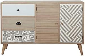 MerkaHome Aparador Santiago Color Natural y Blanco de diseño nórdico 120x32 cm