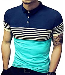 ea4db86d LOGEEYAR Mens Summer Slim Fit Contrast Color Stitching Stripe Short Sleeve  Polo Casual T-Shirts