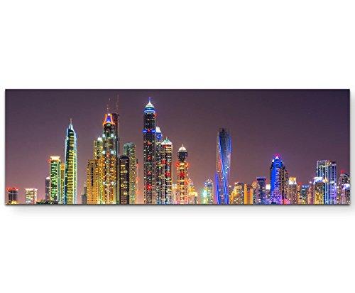 Eau Zone Wandbild auf Leinwand 120x40cm Dubai bei Nacht
