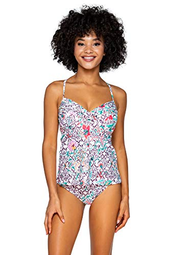 Swim Systems Women's Crossroads Tankini Top Swimsuit, Terrace Blooms, 36DD
