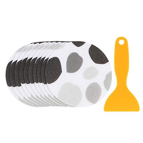 Cabilock 10 unidades de pegatinas para bañera, cinta antideslizante de seguridad interior, perfil de ducha, autoadhesivas, flores claras, con raspador para bañera y superficies de ducha