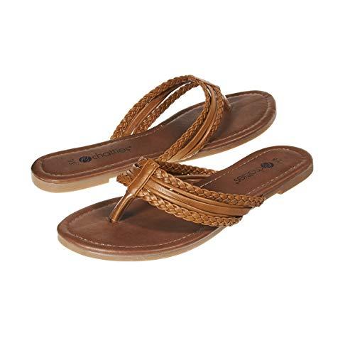 Sara Z Ladies Fashion Sandals Size 7 M US Ladies Braided Thong Slip On Flip Flop Shoe Cognac