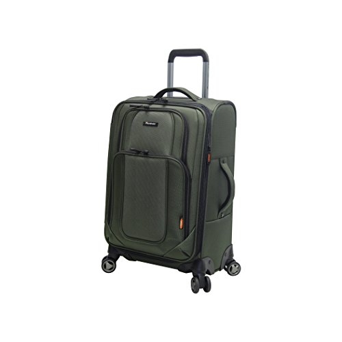 Pathfinder Presidential Designer Luggage Collection - Expandable Softside 21 Inch Carry on Bag - Durable Lightweight Suitcase with 8-Rolling Spinner Wheels (Olive)