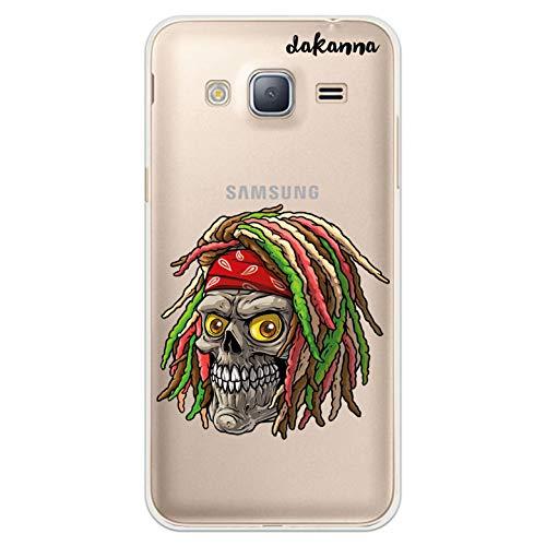 dakanna Custodia Compatibili con [Samsung Galaxy J3 - J3 2016] Sfondo Trasparente con Disegni [Cranio giamaicano Rasta] in Morbida Silicone TPU Flessibile, Shell Case Cover in Gel per Smartphone