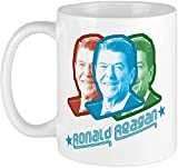 Ronald Reagan - Taza de café de porcelana con cita de confianza pero verify personalizable, diseño de hueso, diseño de Ronald Reagan