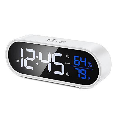 Reesibi Reloj Despertador Digital con Alarma Dual, Pantalla Ajustable, Control de Sonido, Batería 1200mAh, Snooze, 12/24 Horas, Dormitorio Oficina Viaje, Temperatura, Higrómetro, Despertador Blanco
