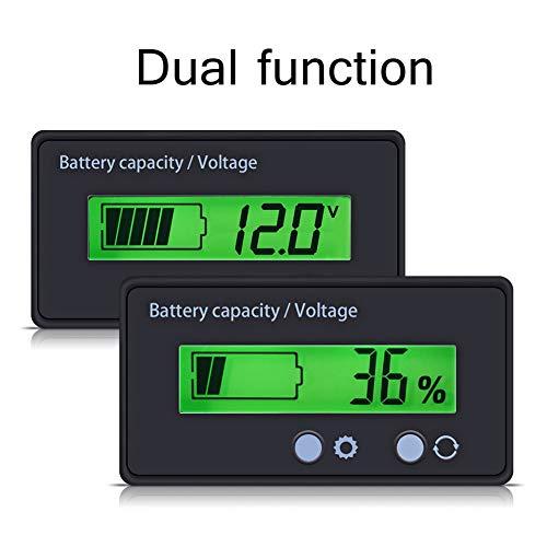 Schwarzes Spannungsmessgerät, Batterie-Kapazitätsmessgerät mit doppelter Entladekurve, hintergrundbeleuchtetes HTN/PCB-Display mit Schnalle für 12-48-V-Batterie