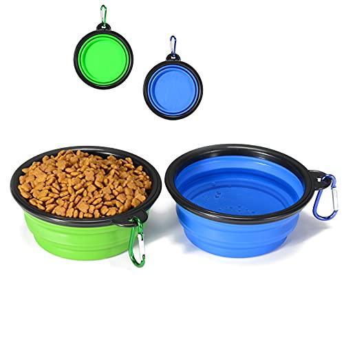 Starlike Faltbare Wasser und Futter,2 Stück Auslaufsicher Silikon Outdoor Hundenapfe mit Karabiner Fressnäpfe für Hunde Blue+Green