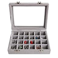 Joqixon Samt 24 fächer Schmuckkasten,schmucklade Damen Schmuckkästchen mit Glasdeckel,Schmuckständer Aufbewahrungsbox für Ringe Ohrringe
