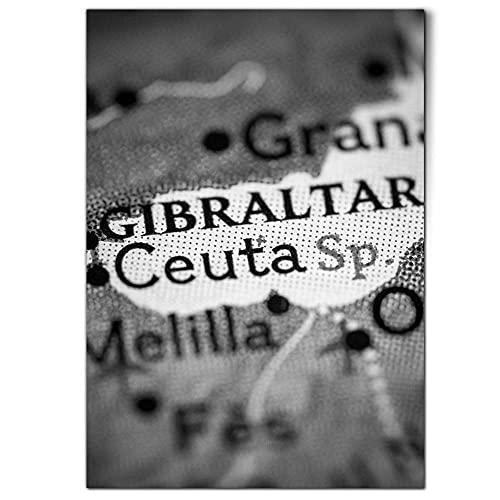 DV DESIGN 1 póster A1 de BW - Ceuta España Mapa Gibraltar Granada - Póster de pared grande #42664