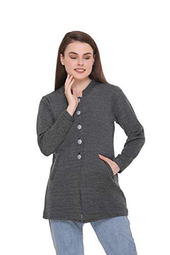 eWools Women Ladies Girls Winter Wear Round Neck Self Design Woolen Coat Sweater (Black, Large)