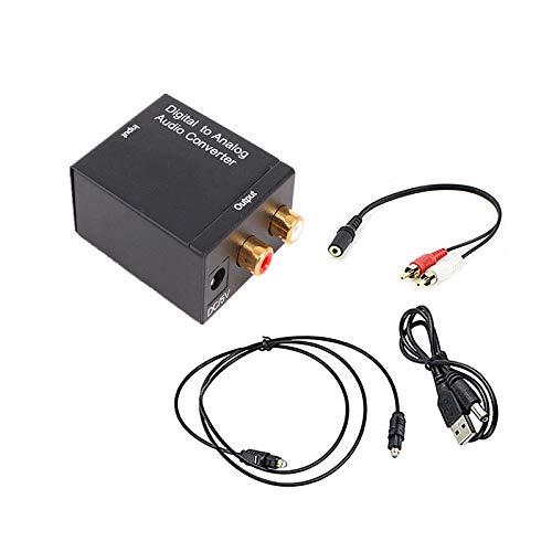 Jsdoin - Adaptador digital a analógico óptico SPDIF Toslink coaxial a R/L con salida jack de 3,5 mm con cable de fibra óptica para TV/PS4/Blue Ray Dvd/TV Box
