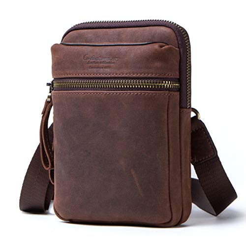 Contacts Echtes Leder Männer Kleine Messenger Gürtel Taille Tasche Geldbörse Tasche Telefon Brieftasche (Kaffee)